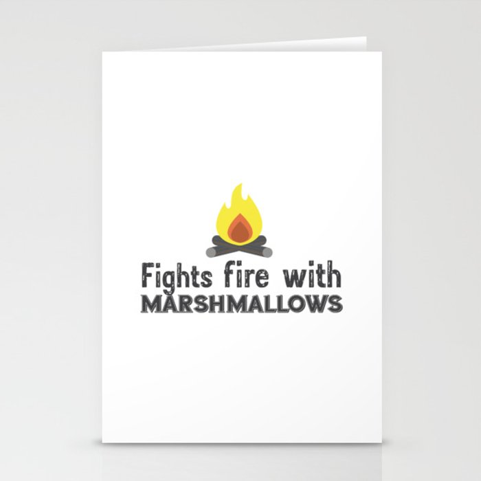 Fights fire with marshmallows Stationery Cards