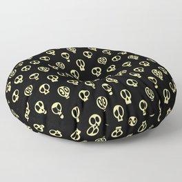 Spooky Skulls Yellow Pattern for Halloween Floor Pillow