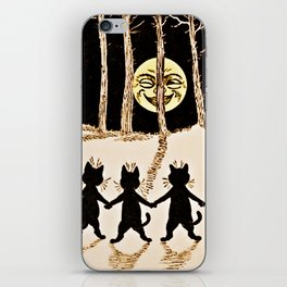Cats & a Full Moon-Louis Wain Black Cats iPhone Skin