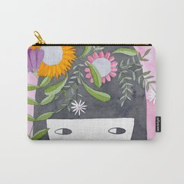 Spring girl botanical watercolor illustration in pink & orange Carry-All Pouch