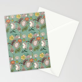 Hedgehogs Field in Green Stationery Cards