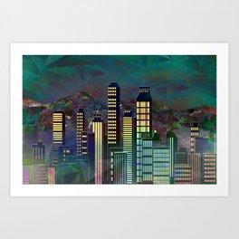 Geometric City - landscape format Art Print