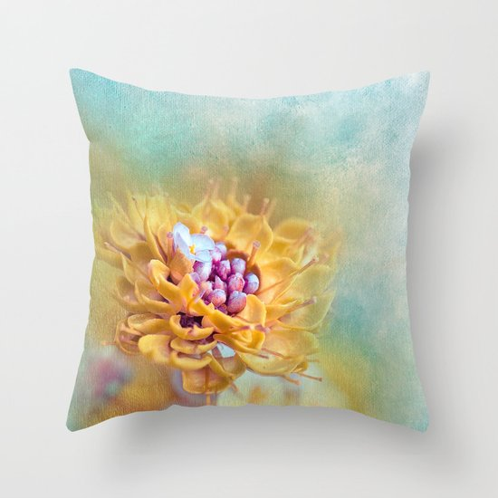 VARIE SQUARE - Floral and painterly texture work Throw Pillow