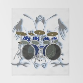 Drum Kit with Tribal Graphics Throw Blanket