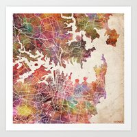 sydney Art Prints featuring Sydney by MapMapMaps.Watercolors