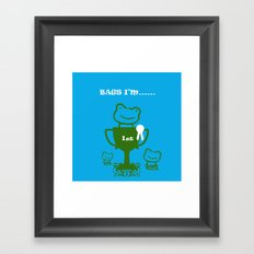 Little Frog- bags I'm first Framed Art Print