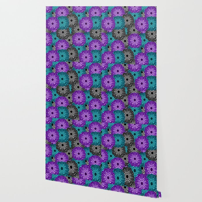 Dahlia Multicolored Floral Abstract Pattern Wallpaper