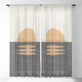 Sunset Geometric Midcentury style Sheer Curtain