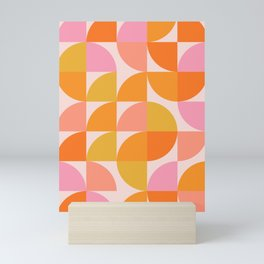 Mid Century Mod Geometry in Pink and Orange Mini Art Print