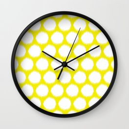 Golden Yellow Asian Moods Ikat Dots Wall Clock