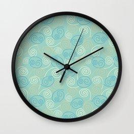 Seafoam Green Abstract Swirl Pattern Wall Clock