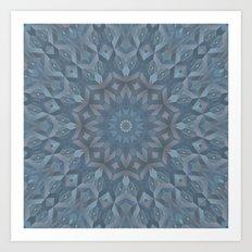 Steel Blue Mandala Art Print