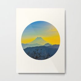Mid Century Modern Round Circle Photo Yellow Blue Mount Fuji Sunset Watercolor Effect Landscape Metal Print