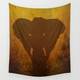 Elephant Silhouette Wall Tapestry
