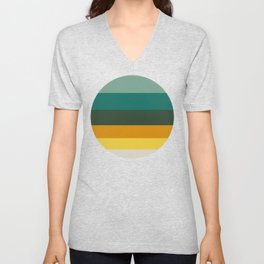 Colorful Green & Yellow Pattern Unisex V-Neck
