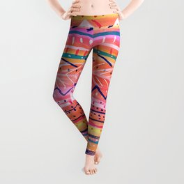 Hand painted Bright Patterned Stripes Leggings