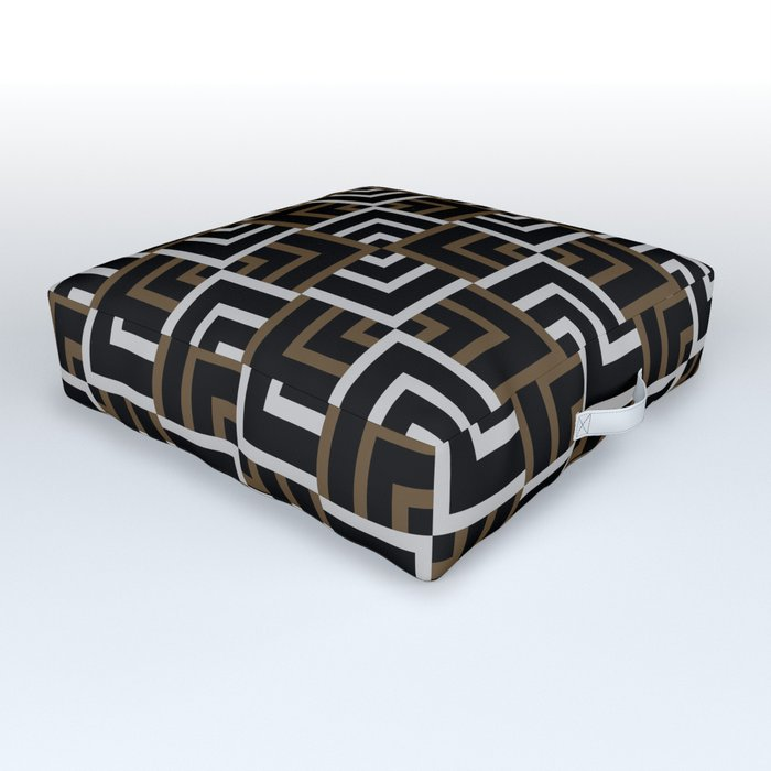 Brown and Silver Squares Outdoor Floor Cushion