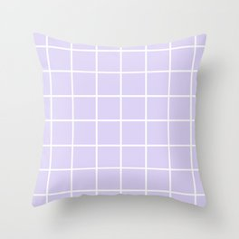Lavender white minimalist grid pattern Throw Pillow