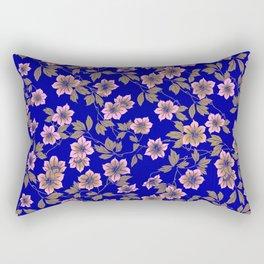 Abstract blush pink brown sky blue flowers Rectangular Pillow