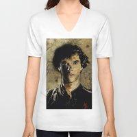cumberbatch V-neck T-shirts featuring Cumberbatch as Sherlock Holmes by André Joseph Martin