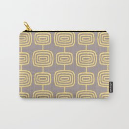 Mid Century Modern Atomic Rings Pattern Yellow and Gray 3 Carry-All Pouch