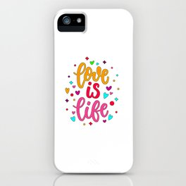 Love Quote Design, Colorful Hearts, Rainbows and Flowers (29) iPhone Case