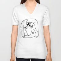 polar bear V-neck T-shirts featuring POLAR BEAR. by Dave Bell