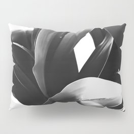 leaves texture abstract background in black and white Pillow Sham