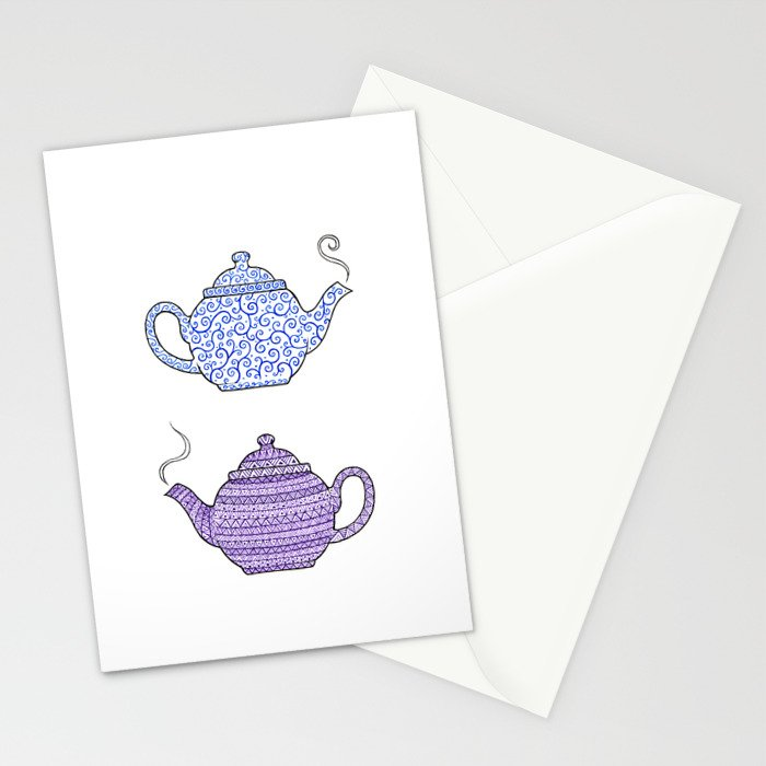 Patterned Teapots Stationery Cards