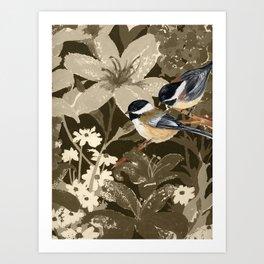 Bird-Chickadees with Lillies Art Print