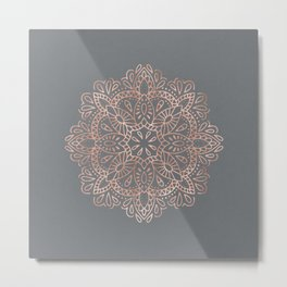 Mandala Rose Gold Pink Shimmer on Soft Gray by Nature Magick Metal Print