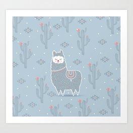 Alpaca winter Art Print