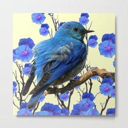 BLUE BIRD & BLUE MORNING GLORIES ART FROM  SOCIETY6 BY SHARLESART. Metal Print