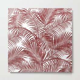 Tropical marsala red faux glitter palm tree pattern Metal Print