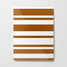 Mixed Horizontal Stripes - White and Brown Metal Print
