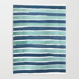 Aqua Teal Stripe Poster