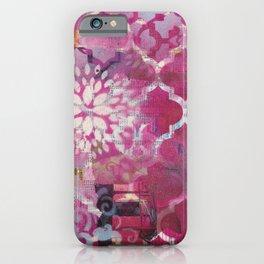 Mixed Media Layered Patterns - Deep Fuchsia iPhone Case