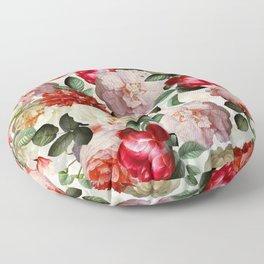 Antique Dutch Roses Pattern Floor Pillow