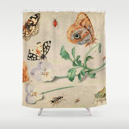 """Jan van Kessel de Oude """"Study of insects and flowers"""" Shower Curtain"""