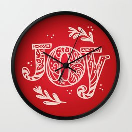 Joy Festive Design for Christmas in Red and Beige Wall Clock