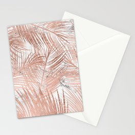 Tropical modern faux rose gold palm tree leaf white marble pattern Stationery Cards