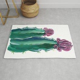Purple and green cactus illustration Rug