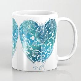 White Inked Floral Heart - Blues Coffee Mug