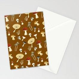 Mushroom Pattern Brown Stationery Cards