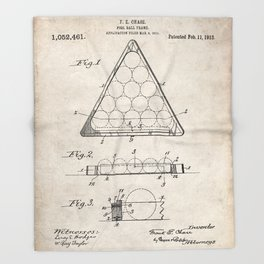 Pool Patent - Billiards Art - Antique Throw Blanket