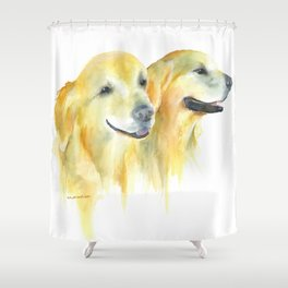 Harold and Daphne - golden retriever 2 Shower Curtain
