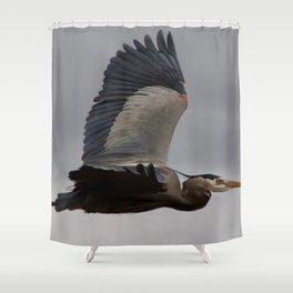 Bird series: heron in flight Shower Curtain
