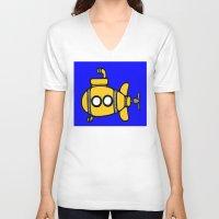 yellow submarine V-neck T-shirts featuring Yellow Submarine by Caroline Blicq