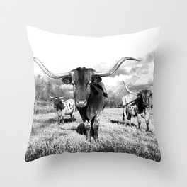 Longhorn Cattle Black and White Highland Cows  Throw Pillow