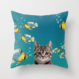 Tiger Cat with Fishes Throw Pillow